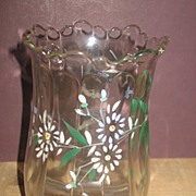 REDUCED Victorian Press Glass Vase Hand Enameled