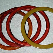 Set 4 Narrow Bakelite Bracelets