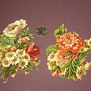 REDUCED Pair of Floral Victorian Scrap