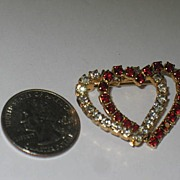 REDUCED Unmarked Prong Set Red and Clear Rhinestone Entwined Hearts Pin