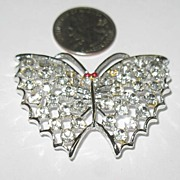 REDUCED Unmarked Glue Set Rhinestone Butterfly Pin