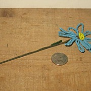 REDUCED Victorian Blue Hand Beaded Daisy