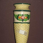 REDUCED Japanese Majolica Pottery Wall Pocket with Fruit and Basketweave