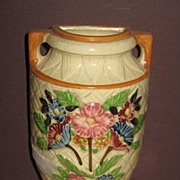 Japanese Hand Painted Majolica Wall Pocket.