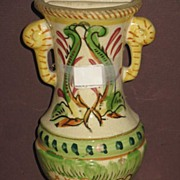 REDUCED Japanese Majolica Hand Painted Urn Shaped Wall Pocket