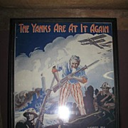 "REDUCED Framed WW1 ""The Yanks Are At It Again"" Sheet Music"