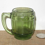 REDUCED Green Glass Barrel Toothpick Holder Mug