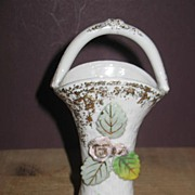 REDUCED Enesco Tall Basket with Attached Roses and Leaves