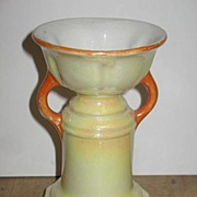 Marked Czechoslovakian Yellow and Orange Lustered Vase