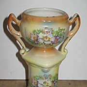 Marked Czechoslovakian Trophy Style Pottery Vase