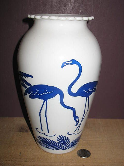 Blue Flamingo Milk Glass Vase By Anchor Hocking
