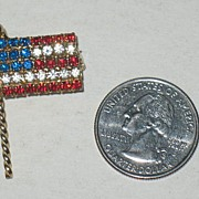 Prong Set Rhinestone Flag Pin