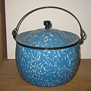 Berlin Style Blue Graniteware Kettle