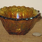 "SALE PENDING ""Wild Rose"" with Leaves and Berries Amber Iridescent Carnival Glass Can"