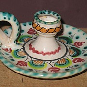 Hand Painted Handled Pottery Candle Stick Holder