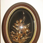 SALE PENDING Saburo Inc. Framed Real Hawaiian Flowers in Petrified Gold