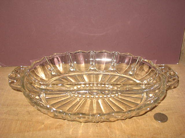 Anchor Hockings Oyster and Pearl Crystal Divided Relish Dish.
