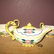 Hand Painted Alladin Style Teapot,  Sugar and Creamer