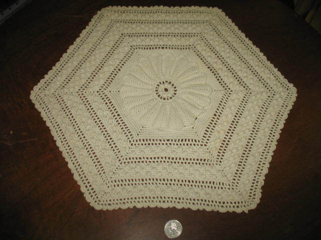 3D Layered 6 Sided Off White Crocheted Dollie.