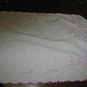 Lavender Embroidered Linen Runner With What Looks Like Water Lilies