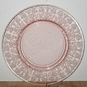 "Pink Depression Glass 7 3/8""D Plate"