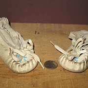 1950's Baby Beaded (Pink and Blue) Leather Moccasins