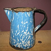 Blue Swirl Graniteware Coffee Pot