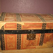 Old Paper Covered Doll Trunk Circa 1908