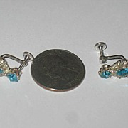 Pair of Screw Back Glue Set Blue and Clear Rhinestone Earrings