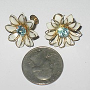 Marked B N Prong Set Screw Back Earrings with Enameled Petals
