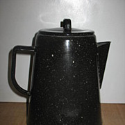 Blue with White Speck Graniteware Coffee Pot