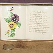 Open Book Shaped Wall Plaque with Pansies and The Lord's Prayer