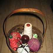 Made in the Philippines Vintage Basket with 3 Pincushions
