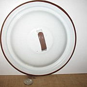 Graniteware White with Brown Rim Cover Only