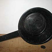 Dark Blue and White Speckled Graniteware Cooking Pan