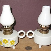 Pair of 3 Made in Japan Footed Ceramic Mini Oil Lamps