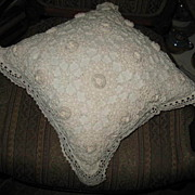 White Crocheted Covered Sofa Pillow
