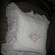 White Embroidered Sofa Pillow