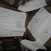 4 Piece Matching Embroidered Dresser Scarves
