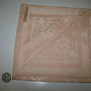 Set of 8 Peach Colored Damask Dinner Napkins