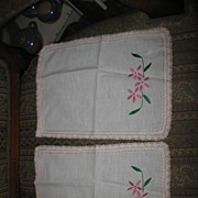 Small Pair of Pink and Green Embroidered Table Linens