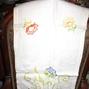 Multi Colored Embroidered Linen Table Runner