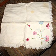Set of Small Embroidered and Applique Linen Lunch Cloth and 4 Napkins