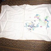 Multi Colored Embroidered Linen Table Runner with a Music Theme
