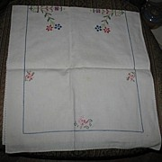 Cross Stitched Linen Table Runner