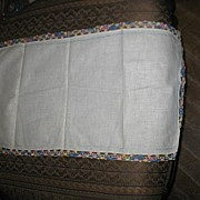 Plain Linen Table Runner with Variegated Crochet Edging