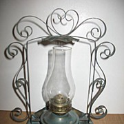 Medium Size Oil Lamp With Metal Base and Decorative Tin Holder