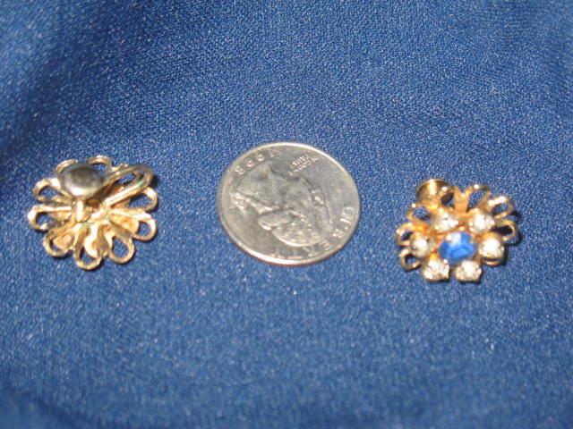 Prong Set Crystal and Deep Blue Faceted Rhinestone Screwback Earring