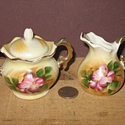 REDUCED Unmarked Hand Painted Sugar and Creamer Set