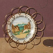 REDUCED Miniature Pikes Peak Souvineer Plate in Brass Wire Stand